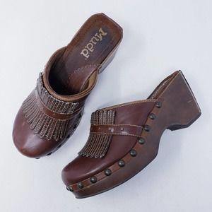 MUDD Vintage 90s Presto Faux Leather Fringe Clogs